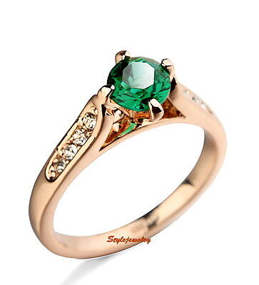 Emerald Green Rose Gold Plated Made With Swarovski Crystal Anniversary Ring R1