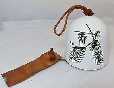 Vintage White Pottery Bell w/ Leather Hanger & Copper - Pine Branch Signed TESA