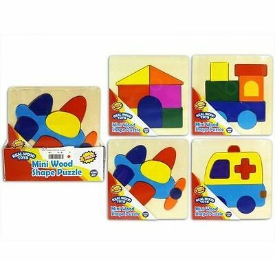 Baby Toddler Mini Wooden Puzzle Pull Out Jugsaw Early Learning Shapes Colours