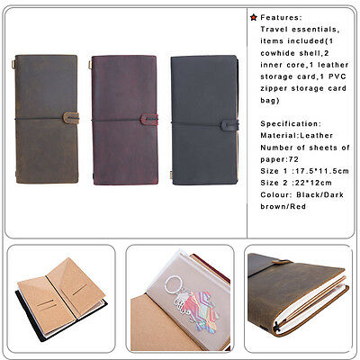 Retro Leather Handmade Bound Notebook Journal Travel Diary Refillable Sketchbook
