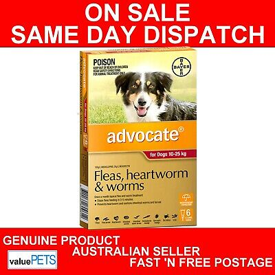 "Advocate for Dogs 10-25kg 6 PACK "" GENUINE 6pk "" AUS SELLER"