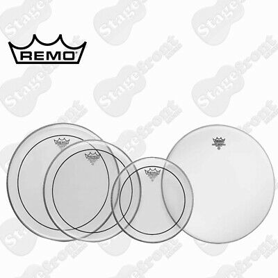 "Remo Pinstripe Clear Drum Head Pack Fusion Skins 10"", 12"", 14"" + 14"" Pp-0110-Ps"