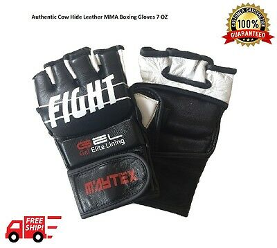 MMA Grappling Gloves Authentic Leather Gel Integrated Sparring Gloves 7OZ