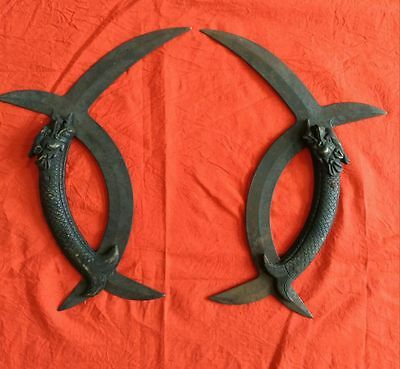 antique    A pair of wushu weapon in ancient China: dragon yuanyang tomahawk.