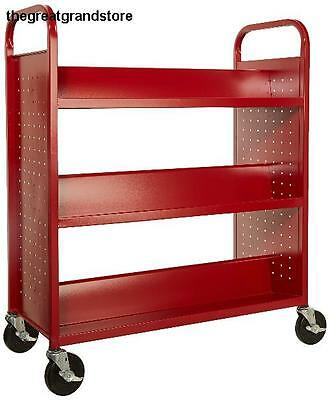 Sandusky Lee Double Sided Sloped Shelf Welded Book Truck Fire Engine Red Grip