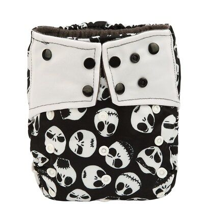 Baby Pocket Cloth Diaper Nappy Charcoal Bamboo Reusable Double Gusset Skull Jack