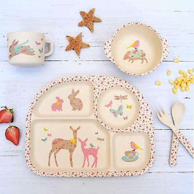 Children's Kids Vintage Floral Bamboo Dinner Plate Bowl Cup Spoon Meal Tray Set