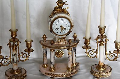 antique french marble portico clock garniture