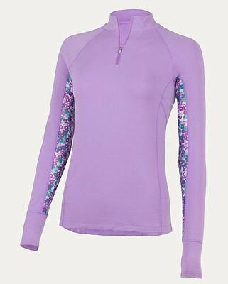 New! Noble Outfitters Ashley Long Sleeve Base Layer w/ Zip Neck Hyacinth XS-L