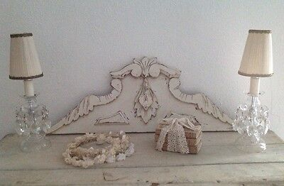 Antique French Carved Cream Wooden Pediment