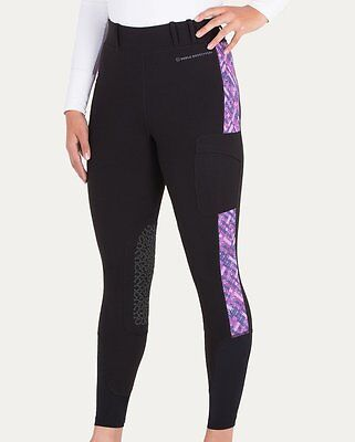 NEW Noble Outfitters Balance Riding Tights Grip Knee Black Print Sizes XS - L