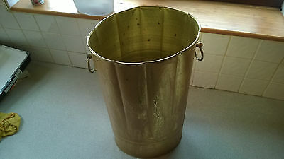 Antique Metal Umbrella Stand Bucket Style 2 Side Handles Good Cond