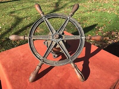 Antique WILCOX CRITTENDEN Cast Iron & Wood Six Spoke Ships Wheel