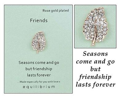 'Friends' Pin Brooch by Equilibrium, rose gold plated stone set leaf