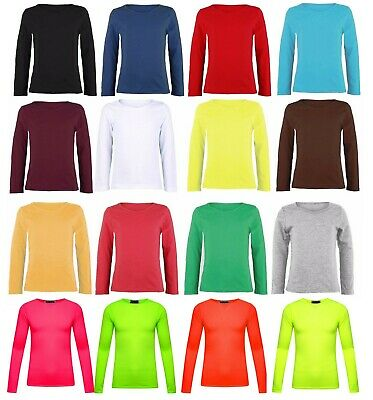 Girls Long Sleeve Top Kids Plain All Color Tee Tops T-Shirt New Age 2-13 Year