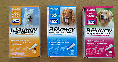 RSPCA FLEA Away Spot on Treatment for Dogs. Small, Meduim or Large. 3xTreatments
