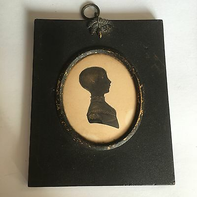Antique 19th Century Silhouette Miniature Of A Young Boy Gilt Highlight
