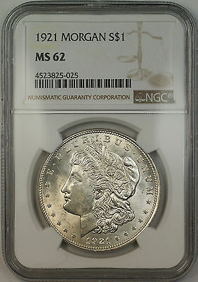 1921 Morgan Silver Dollar $1 Coin NGC MS-62 (15c)