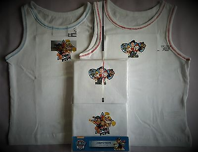 Paw Patrol Boys Vests Chase Marshall Rubble Underwear 2 Pack T2TC164