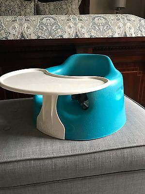 Bumbo Baby Seat Floor Sitter W/ Belt Safety Straps and Activity Play Tray BLUE