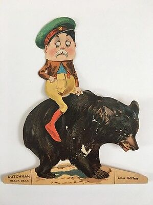 Vintage Lion Coffee Trade Card Brownie Dutchman Bear Antique Advertising