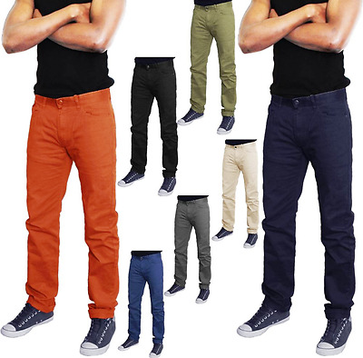 Mens Chino Trousers Jeans D&h  Stretchy Skinny Slim Fit Jeans 28 - 40 Waist
