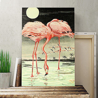 24x16 Inch Canvas Print Picture Wall Art Vintage Flamingos