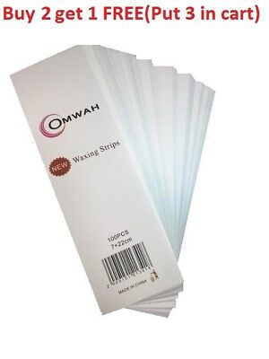 """Omwah Professional Waxing Non Woven Epilating Wax Strips 100 Count Large 3"""" x 9"""""""