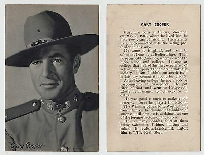 Gary Cooper, movie film cinema actor (not a postcard - biography text on back)