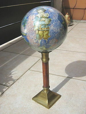 Rare antique 1850 Austrian glass wig stand brass wood water color porte perruque