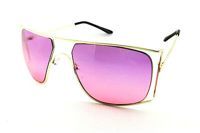 cf160bf8ae27 Oversized Semi-Rimless Vintage Color lenses Sun Glasses square Double Gold  frame