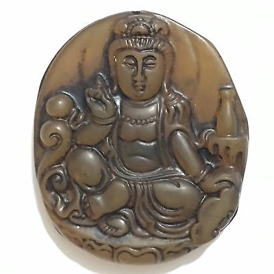 kwan Yin Goddess, Antique Old Chinese Buddhist Pendant, Jade Carved, China #5