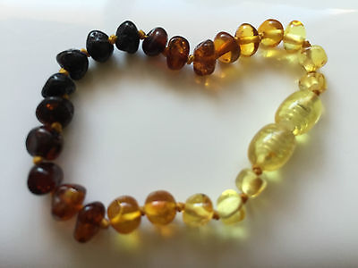 Certified BALTIC Amber Bracelet/Anklet for baby child Toddler - Rainbow