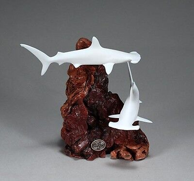 Pair HAMMERHEAD SHARK Figurine New direct from JOHN PERRY 7in tall Statue Decor