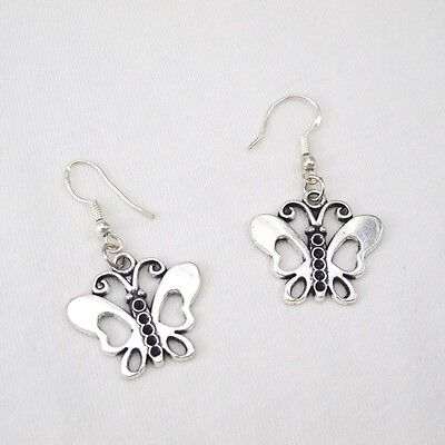 Silver Alloy Insect Fairy Dangle Butterfly Earring 925 Sterling Silver Hooks NEW