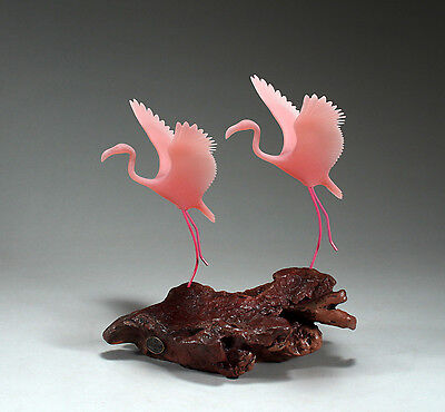 FLAMINGO Pair Sculpture New Direct from JOHN PERRY 7in tall Statue Taking off