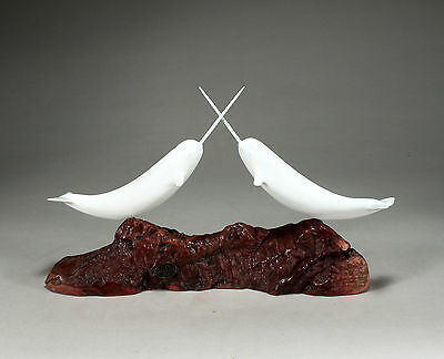 "Two NARWHALS ""JOUSTING"" Sculpture NEW direct from JOHN PERRY 14in long  Decor"