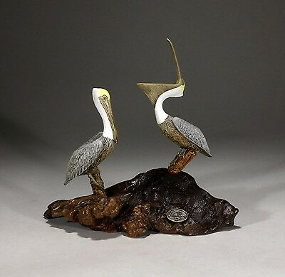 PELICAN Pair Statue New direct from JOHN PERRY 7in tall Sculpture on Wood Decor