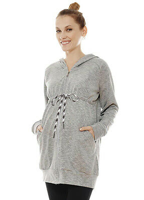 NEW - Imanimo - Jessica Zip Front Hooded Maternity Sweatshirt in Grey