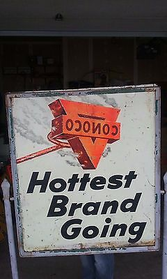 Vintage 1950's Conoco advertising oil- gas sign with ORIGINAL stand- SUPER RARE