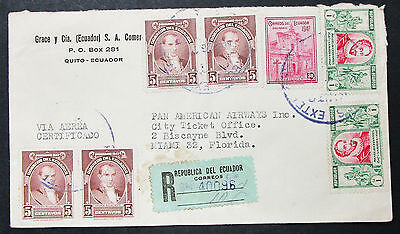 Ecuador Airmail Registered Cover Quito Pan American MiF Lupo R-Brief (H-8494