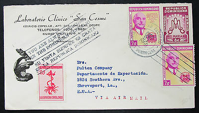 Dominican Republic Airmail Cover Ciudad Trujillo Cancer Stamp Lupo Brief (H-8520