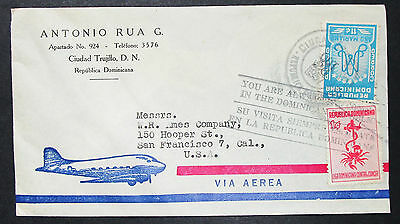 Dominican Republic Airmail Cover Ciudad Trujillo Cancer Stamp Lupo Brief (H-8521