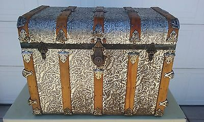 Antique 1800's- Steamer Trunk-Chest Embossed Hump Back Chest. Beautiful