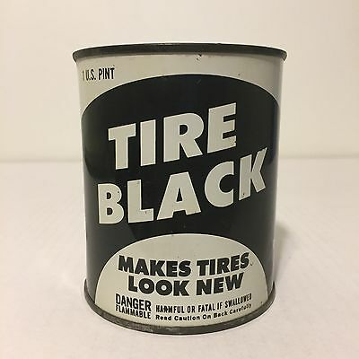 Vintage 1950s Tire Black Paint Metal Can Advertising Tin Garage 50s