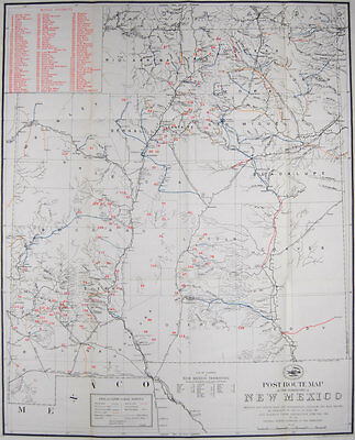 1901 ORIGINAL Post Office & Mining Map Of New Mexico Territory Quite Scarce