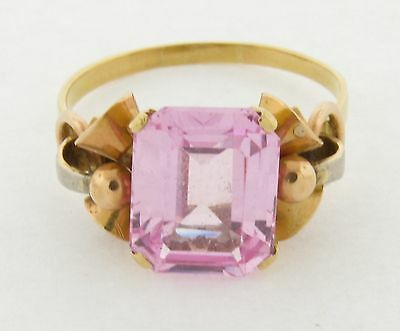 Beautiful Pink Amethyst 18K Gold Art Deco Ring Circa 1920's