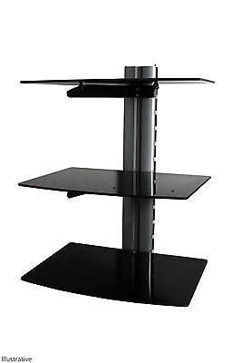 Floating Shelves Black Glass 3 Tier Modern DVD Sky Box Blu ray Shelf Wall Mount