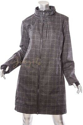 Asmar Equestrian All Weather Rider Gray Plaid Jacket Coat Size L