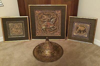 THAI VINTAGE 3 piece TAPESTRY- wall hangings and wood carved solider hat